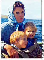 Nicholas [left] and Timothy with their mother on Lord Mountbatten's Shadow